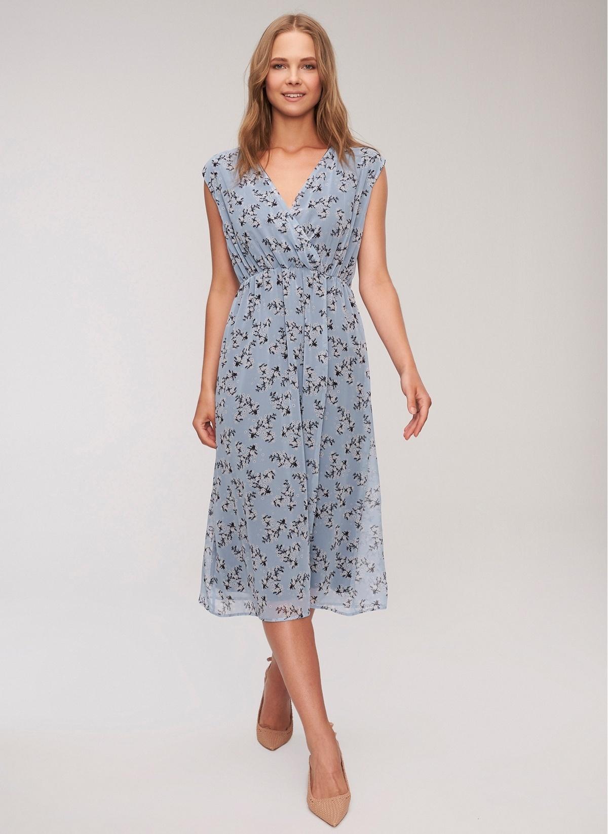 6c93f3be29d1d People By Fabrika Kadın Çiçek Desenli Şifon Elbise Mavi İndirimli ...